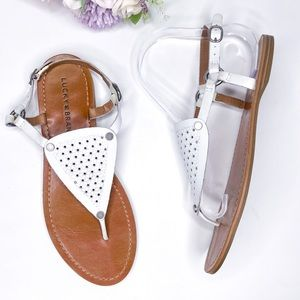 Lucky Brand Abell White Leather Sandals